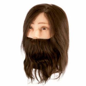 Cabeza maniquí Cabello natural con barba