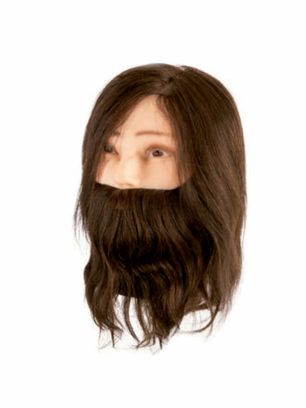 Cabeza maniquí Cabello natural con barba -06424