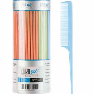 Bote 60 peines púa plástico colores