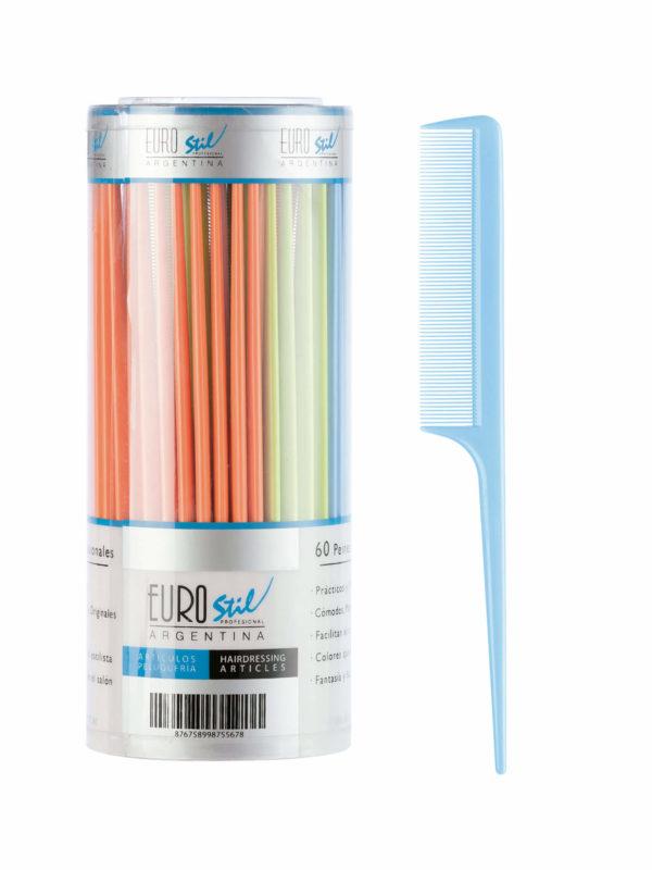 Bote 60 peines púa plástico colores 53851_azul
