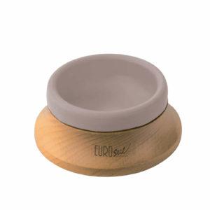 Bacia jabón eurostil Base de madera y recipiente de goma